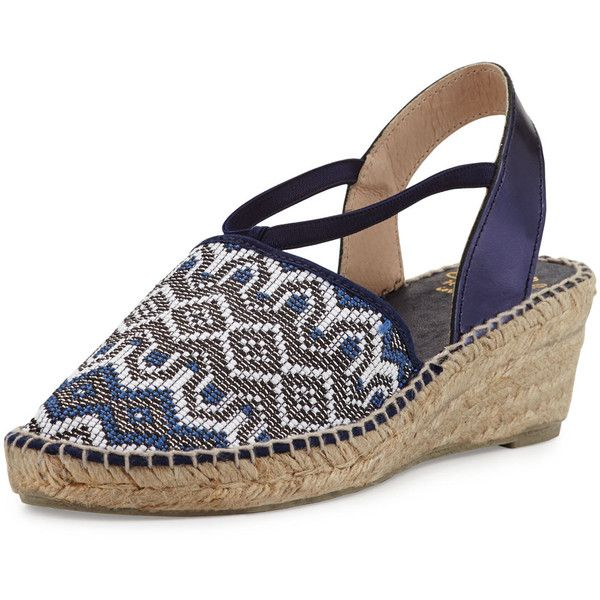 Andr? Assous Hailey Geometric Demi-Wedge Espadrille Pump ($83) ❤ liked on Polyvore featuring shoes, pumps, navy, platform pumps, navy wedge espadrilles, navy blue platform pumps, platform wedge pumps and navy blue wedge shoes