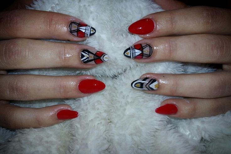 Red nails with line art