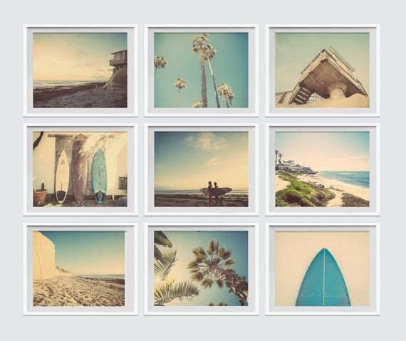 Set of 9 Surf Beach Decor Photo prints, beach photos, , yellow, turquoise, sunset, retro, vintage surf home decor, beach wall art