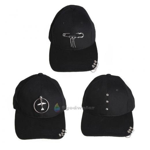 Men Women Black Baseball Cap Snapback Hat Hip-hop Adjustable Bboy Cool Caps Punk Cotton Solid China