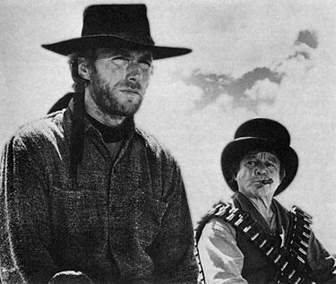 Clint Eastwood and Billy Curtis in High Plains Drifter.