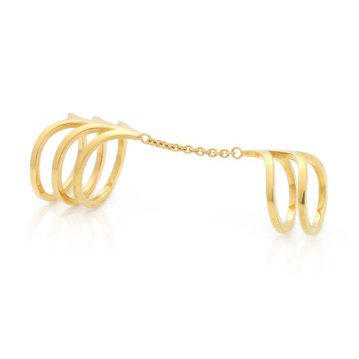 Ella Double Ring with chain by SMITH/GREY