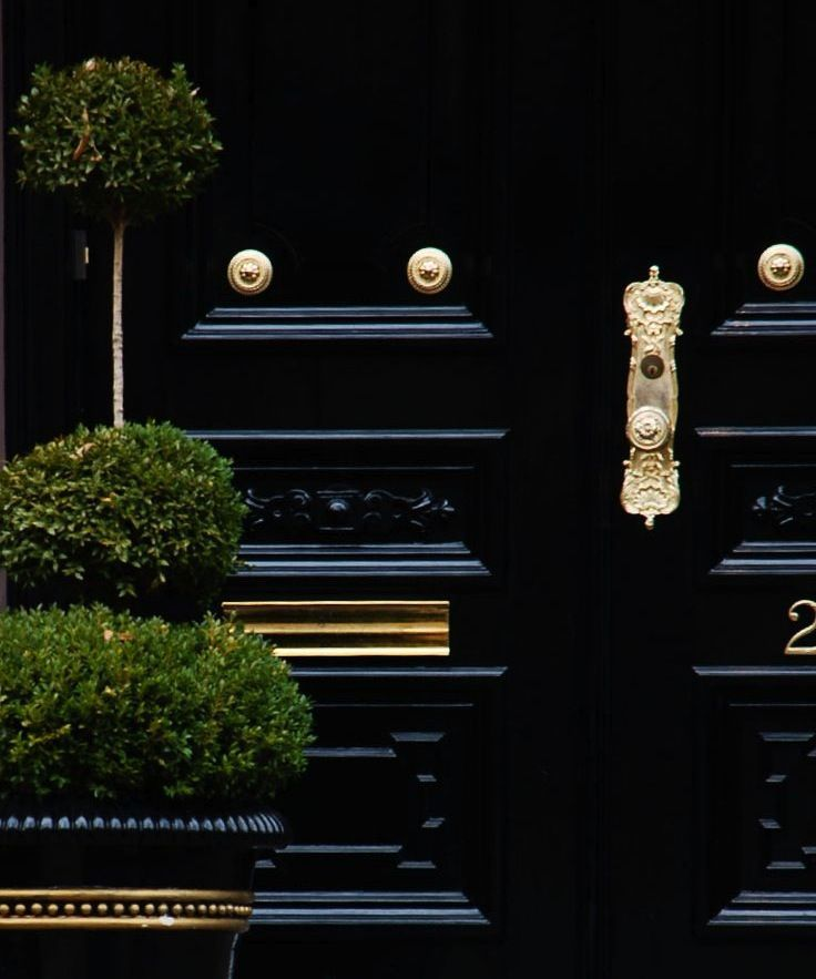 Boxwood Topiary, Black Lacquered Door And Brass Hardware.