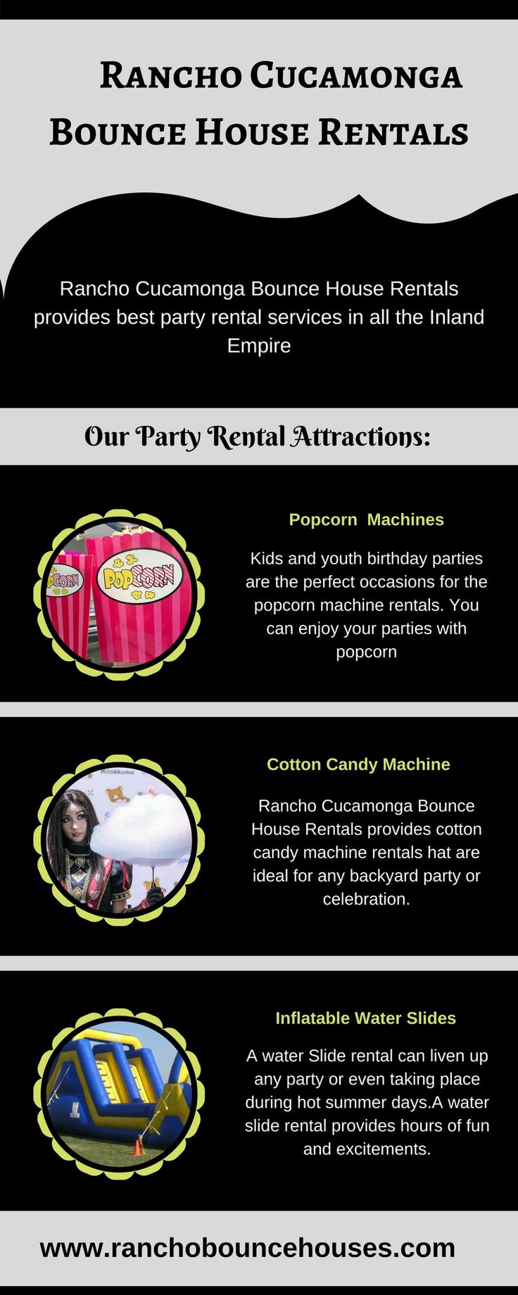 This infographic shares useful information about the bounce house rentals. If you are looking for the best bounce house rentals in Bloomington, Upland, Colton, Claremont, Fontana, then contact the Rancho Cucamonga Bounce House Rentals which provides top quality bounce house rentals.