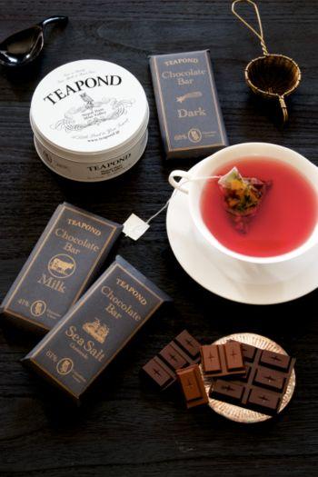 紅茶に合う、上質なカカオを使ったチョコレートバー。ダーク、ミルク、シーソルトの3種類。お好みの紅茶に添えて、ギフトセットにもできます。