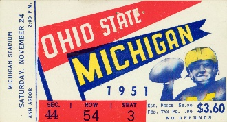 Woody Hayes' first Michigan battle as head coach! 1951 Ohio State football ticket from the game at Michigan Stadium. Available on canvas up to 5 feet wide or as a ROW 1™ shirt.