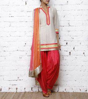 Ivory & Orange Georgette Patiala Salwar Kameez