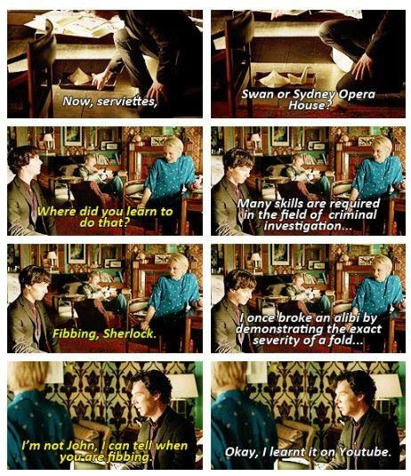 Sherlocks serviettes. The Sign Of Three.