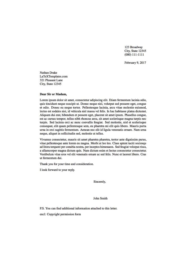 Thin Formal Letter LaTeX Template
