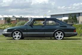 Saab 900 w/ aftermarket rims & clear lense covers for headlamp housing