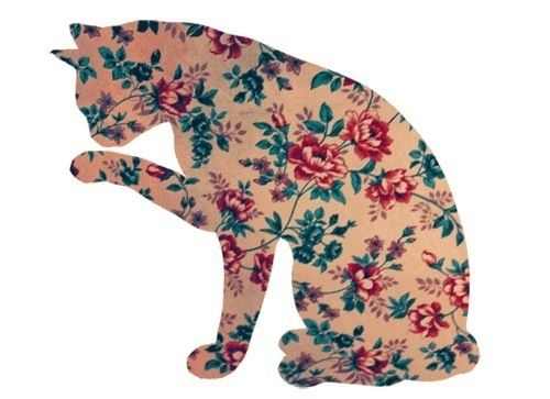 Kitty!!! Floral fabric in a cat silhouette. Darling when added to a pillow, or made into a pillow.