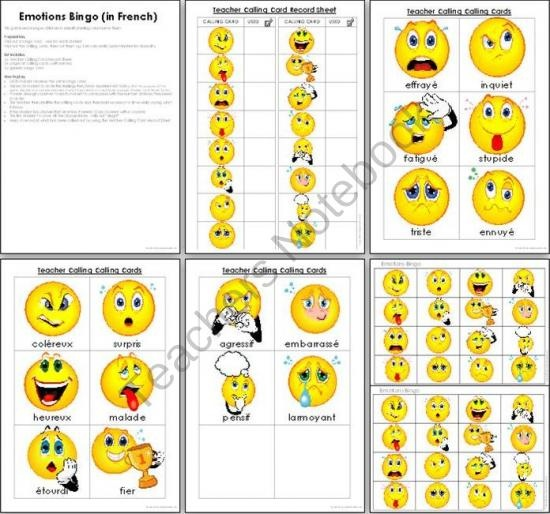 Emotions Bingo in French product from Imaginative-Teacher on TeachersNotebook.com