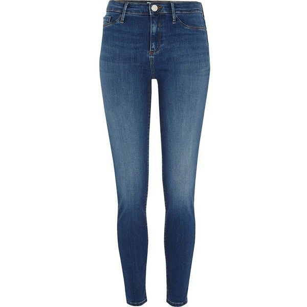 River Island Mid blue Molly skinny jeggings ($80) ❤ liked on Polyvore featuring pants, leggings, blue, jeans, jeggings, women, jeggings leggings, zipper pants, skinny pants and blue jean leggings