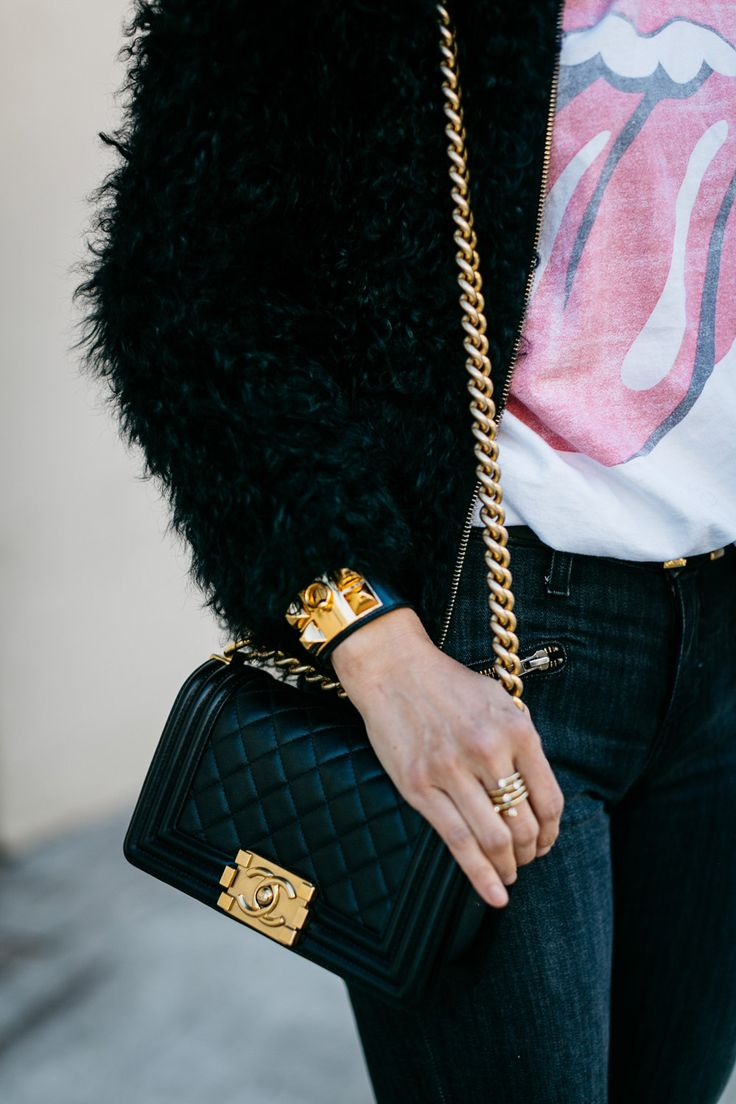 Chic at Every Age // The Graphic Tee http://styleofsam.com/2017/03/17/the-graphic-tee/ details rolling stones graphic tee outfit idea, iro fur jacket, hermes cdc bracelet, chanel boy bag mini