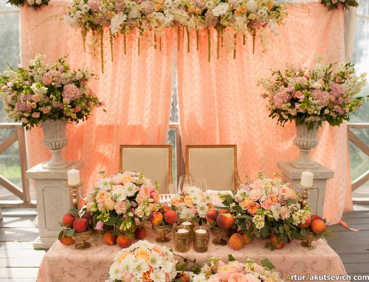 Bride and groom wedding seat in peach