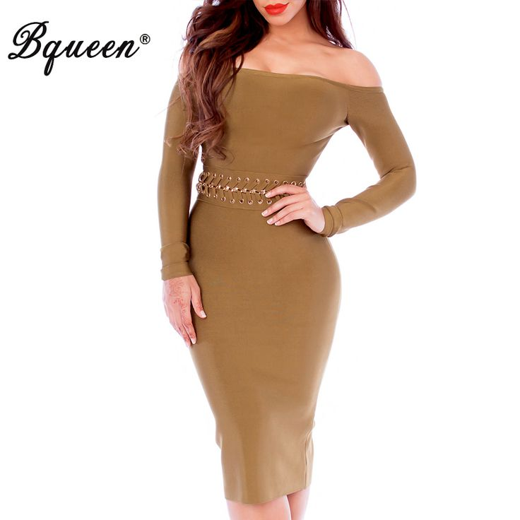 ==> [Free Shipping] Buy Best Bqueen 2017 New Winter Dress Women Runway Celebrity Bandage Dresses Sexy Slash Neck Long Sleeve Lace-up Sequin Bodycon Dress Online with LOWEST Price | 32763426432