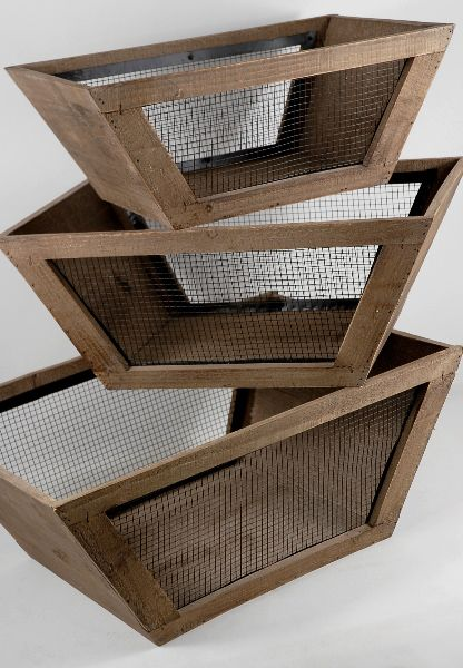 """Set of Three Wood and Wire Boxes $59     Largest is 7-3/4"""" tall x 13-3/8"""" wide x 19-1/4""""  base is 11-5/8"""" x 10-7/8""""  middle size 7"""" tall x 10-3/4"""" wide x 17-1/2"""" long   base is 10-3/4"""" x 8-1/2"""".    smallest is 6"""" tall x 9-1/2"""" wide x 15-7/8""""long  base is 9-3/4"""" x 7-1/2"""" Frame is wood with black wire on four sides.   $59 set of 3"""