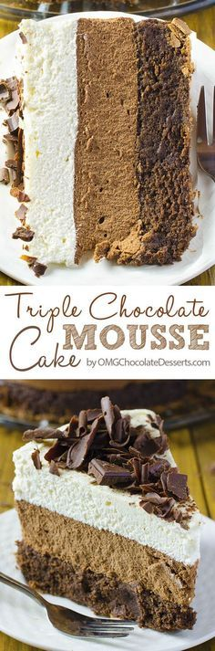My favorite chocolate cake recipe! Decadent cake with 3 amazing chocolate layers. Triple Chocolate Mouse Cake.