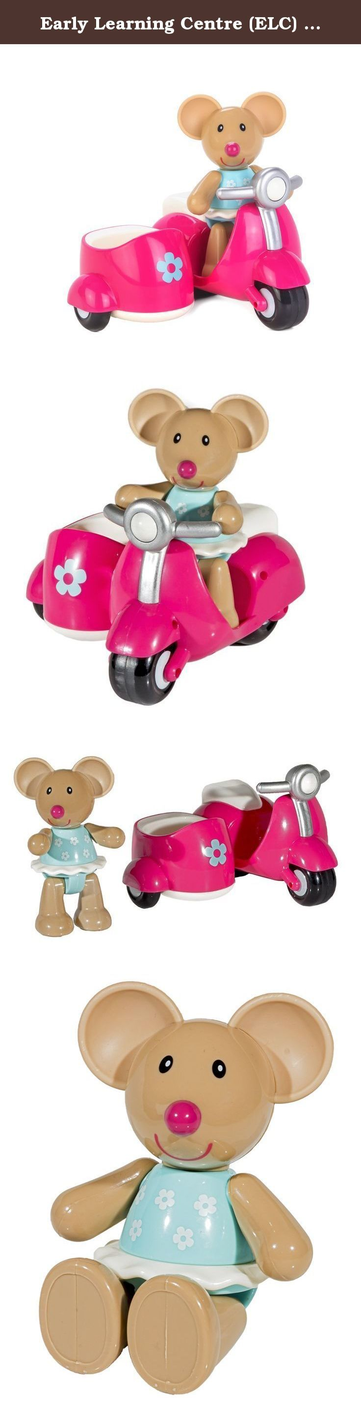 "Early Learning Centre (ELC) Toybox Martha Mouse and her Scooter Baby Toy. Featuring an eye-catching pink scooter, Toybox Martha Mouse and her Scooter make all of the other Toybox critters jealous! Designed specially for little hands to hold and play with, Martha is a chunky, plastic, brown mouse figure with a round, pink nose and a blue and white flowered dress. Turn her head, arms and legs to hear a fun ""click"" sound as you position her to either stand, or sit in her pink scooter, with a..."