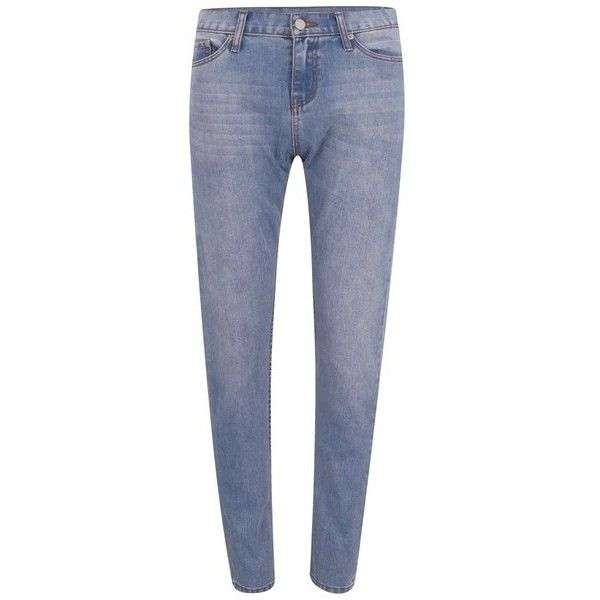 Cheap Monday Women's 'Thrift' Boyfriend-Fit Jeans - TS Wash ($61) ❤ liked on Polyvore featuring jeans, blue, mid-rise jeans, mid rise skinny jeans, boyfriend jeans, skinny jeans and loose boyfriend jeans