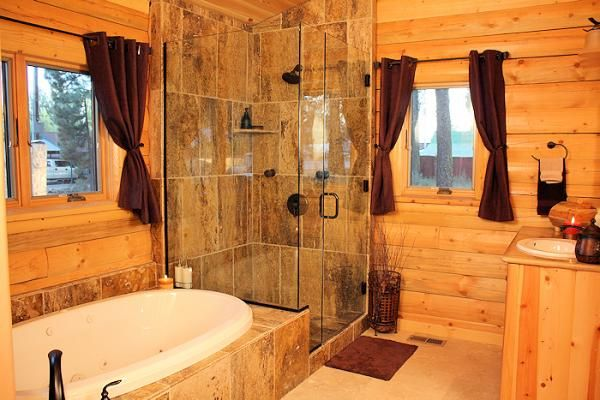 Log Home Bathroom Glass Walk In Shower Bathrooms