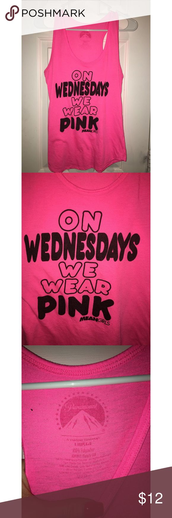 Mean girls neon pink tank top Mean girls quote shirt by paramount. Super cute and neon for themed parties Tops Tank Tops