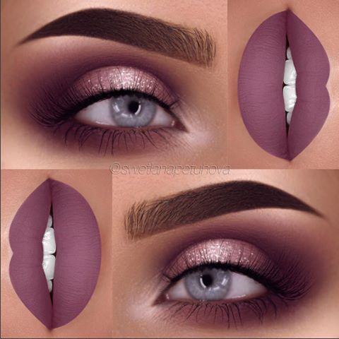 Smokey brown halo eye goes perfectly with these matte plum lips #gotoglam...x