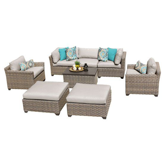 $1800 TK Classics Monterey Wicker 8 Piece Patio Conversation Set with Ottoman and 2 Sets of Cushion Covers