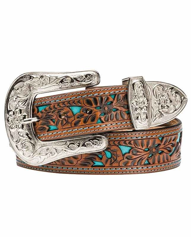 Angel Ranch Women's Brown Leather Belt With Turquoise Inlay (Size Large-Brittany)