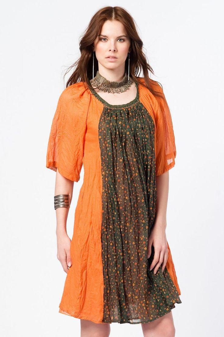 Otantik Foça Elbise - Orange
