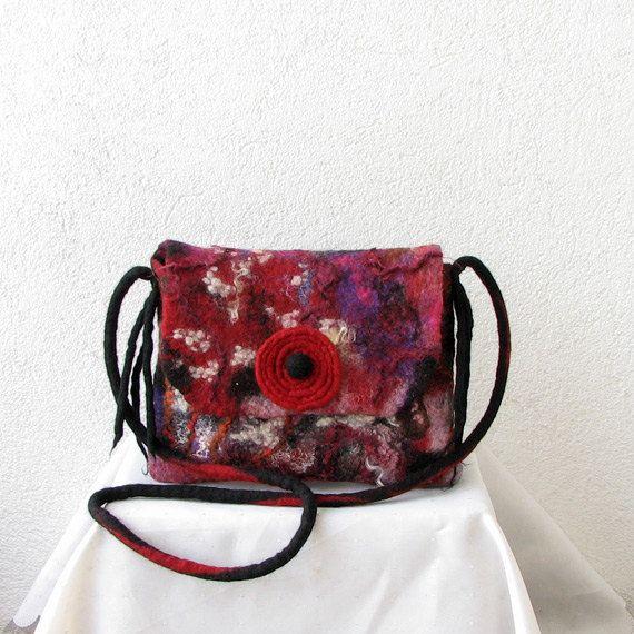Felted handbag felt bag hand felted bag felted shoulder by ...