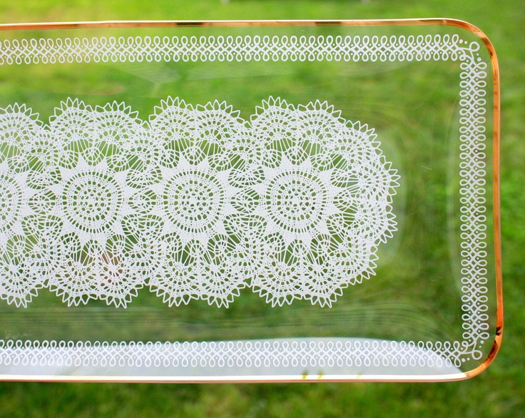 Vintage Lace Platter Chance Glass Crochet Doily Design White and Gold 1950s. $21.00, via Etsy.