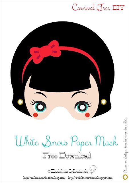@Regan Leahy    Snow White paper mask,   Blanche Neige, masque de papier.   Free Carnival DIY