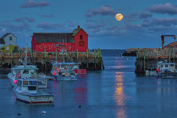"""Rising Moon Over #Massachusetts Rockport Harbor Village"" by Juergen Roth #moonscape #CoastalArt"