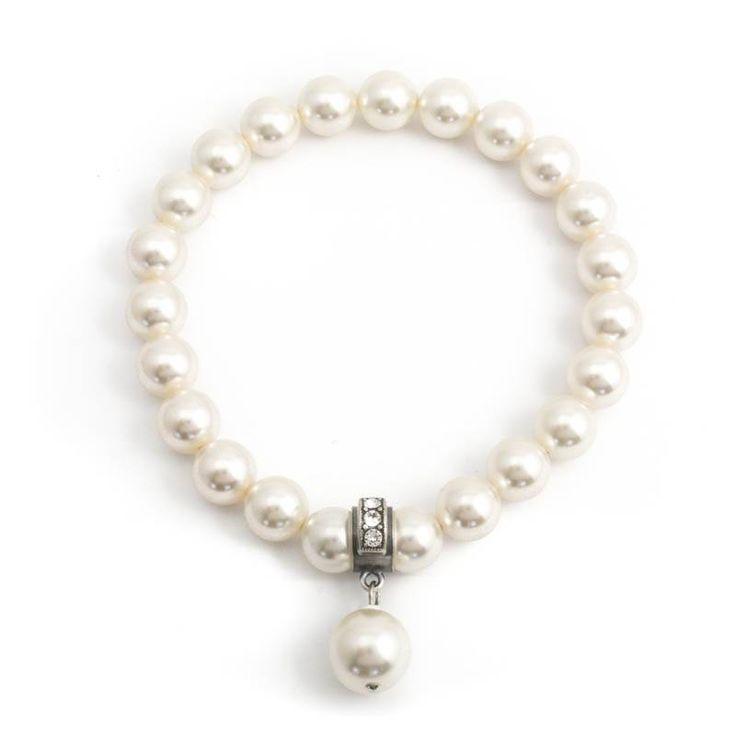 Krikor Parel armband met cream pearl Swarovski parels en bedel met kristallen
