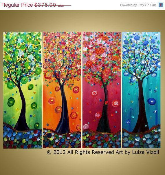 Season Trees Original Modern Multi Panels Abstract Tree