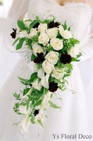 白と黒のクレッセントブーケ  ys floral deco