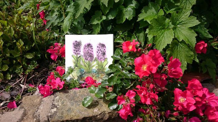 Three Pink Hyacinths: original painting 20x20cm inks on canvas framed or unframed by TheBigLittleArtShop on Etsy