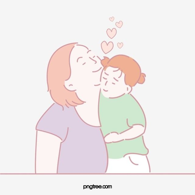 Hand Drawn Loving Kissing Mother Illustration Heart Love Embrace Family Png Transparent Clipart Image And Psd File For Free Download How To Draw Hands Illustration Cartoons Love