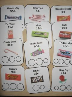 "A variation on the money-matching game is playing ""candy shop"" where the ""customer"" gets ""candy"" (the pictured cards) in exchange for the listed price. Great for reinforcing monetary value as well as exploring the idea of working in a shop."