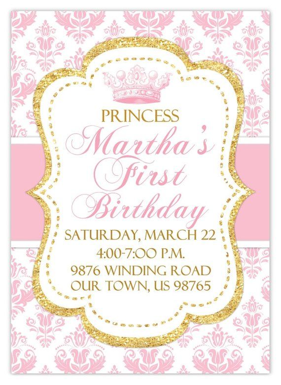 Princess Birthday Invitation Photo Card Damask And Gold Glitter Custom Design For YOU P