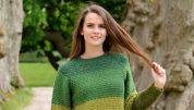 strikket sweater med brede striber