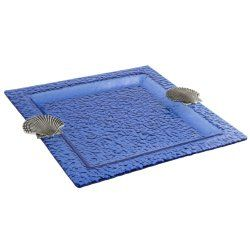 Square or Rectangular Blue Hammered Glass Serving Tray - North Breeze
