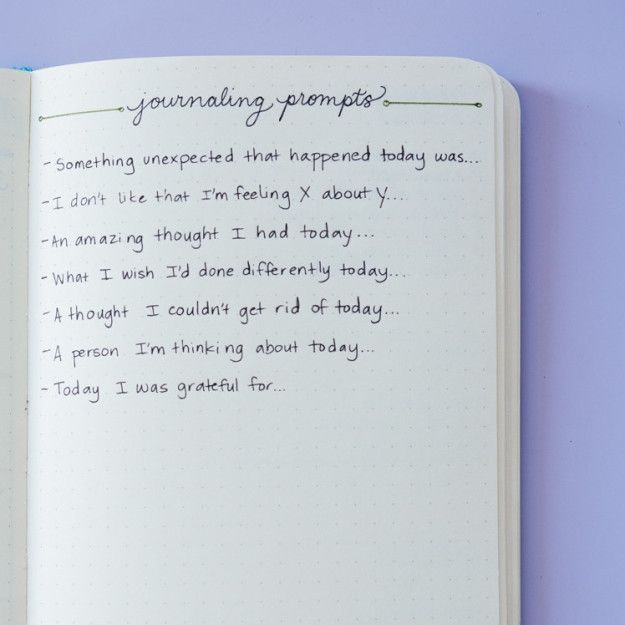 If you always struggle to think of things to write about in a journal, create a page with some go-to prompts: