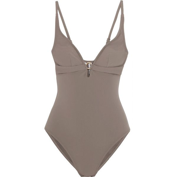 Calvin Klein Beachwear Halterneck swimsuit ($60) ❤ liked on Polyvore featuring swimwear, one-piece swimsuits, neutral, halter swimsuit, halter neck swimsuit, cut out one piece swimsuit, halter bathing suit and cut out swimsuit
