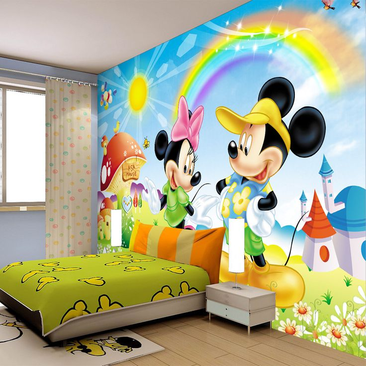 Funny Mickey Mouse Inspired Kids Room Designs : Contemporary Mickey Mouse  Wall Decal Kids Bedroom Decor With White Frame Bed And Wooden Floo. Part 81