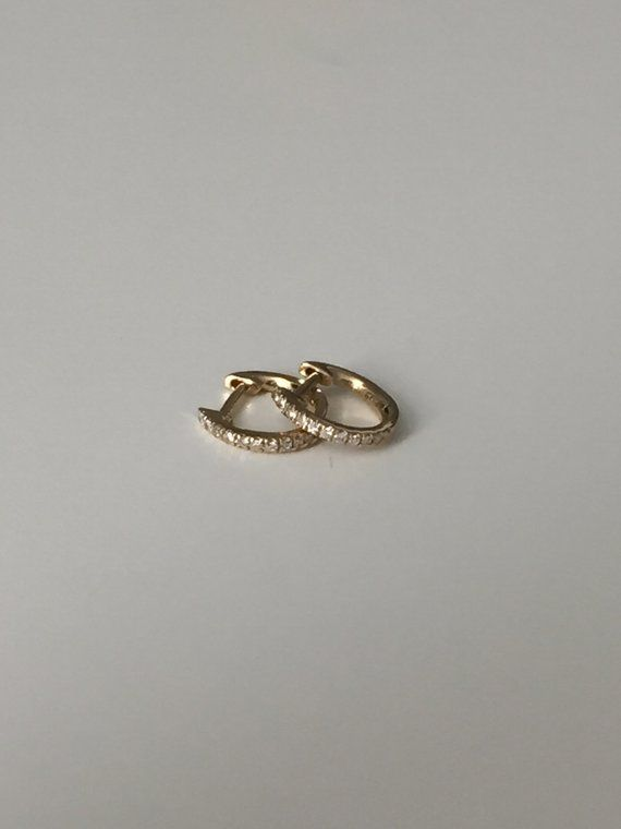 Mini Diamond Huggies Yellow Gold Huggie Earrings
