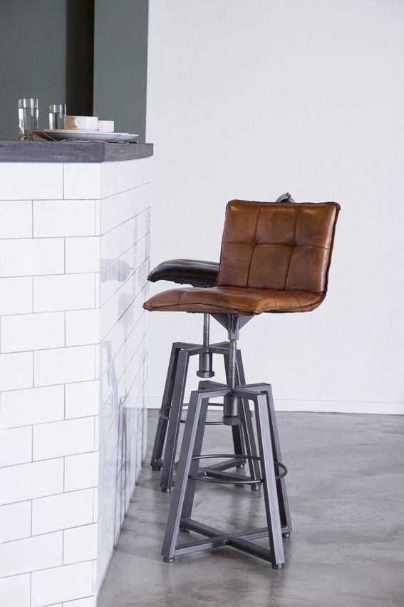 Tabouret de bar vérona réglable style industriel en cuir et métal