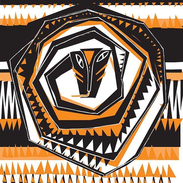 illustration by Basia Grzybowska #snake #amazonas #illustration #drawing #pattern #orange #black #animal #manaus #manauara #illust #creative