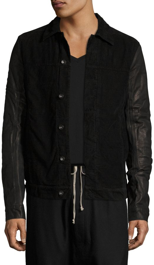 Rick Owens Men's Worker Leather Sleeve Corduroy Jacket